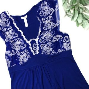 SOMA | sz M blue lace cap sleeve top